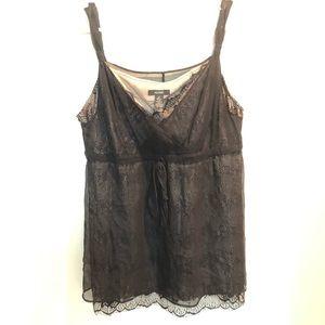 Women's ALFANI lace & silk sheer tank shirt Sz 12